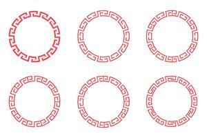 Kinesisk röd cirkel uppsättning design vektor