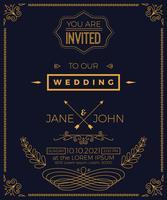 Tappning bröllopinbjudan kortmall vektor