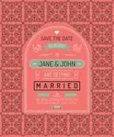 Vintage Hochzeit Einladung Kartenvorlage vektor