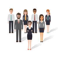 Grupp av affärsman och affärskvinna.