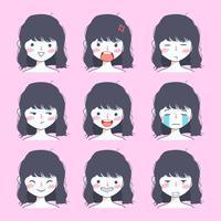 söt tjej emoji klistermärke samling vektor