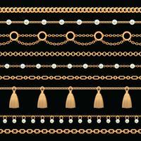 Ställ in samling av gyllene metallkedjegränser med pärlor och tofsar. På svart. Vektor illustration