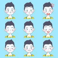 söt pojke emoji klistermärke samling vektor