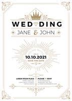 Vintage bröllopsinbjudan vektor