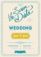 Vintage bröllop inbjudningskort vektor