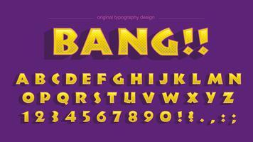 Mutiger gelber Cartoon-Typografieentwurf vektor