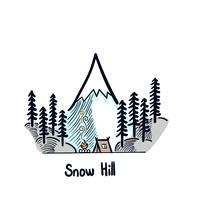 Snowy eisig während eines Familienurlaubs. Vektorwintermärchenland-Nachthintergrund vektor