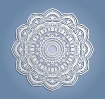 Vektor vit spets dekoration, rund lacy doily, cutout papper cirkel prydnad