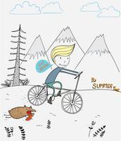 Ein Junge, der Fahrrad mit einem Hundefreund läuft um einen Berg während Sommerferien fährt