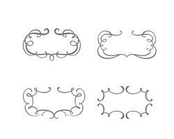 Vektor vintage uppsättning gränsramar gravering med retro prydnad i antika rokoko stil dekorativa design
