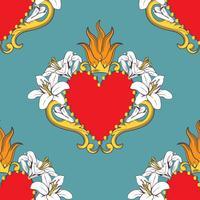Seamless damask mönster med vackra dekorativa röda hjärtan med liljor, flamma, krona. Vektor illustration