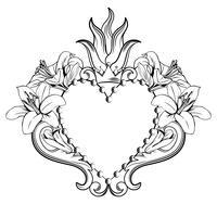 Jesu heliga hjärta. Vackert dekorativt hjärta med liljor, krona i svart färg isolerad på vit bakgrund. Vektor illustration