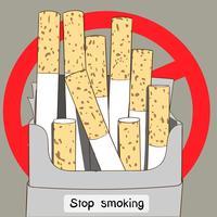 Okokta cigarettpaket är ett annat tecken på att alla världens folk slutar röka vektor