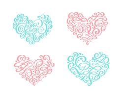 Set med vintage prydnad hjärta. Vektor illustration för gratulationskort, inbjudan, valentines dag, bröllop