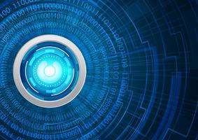 Cybersicherheitskonzept des blauen Auges, abstraktes hallo Geschwindigkeits-digitales Internet. Zukunftstechnologie, Vektor Hintergrund.
