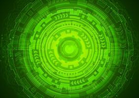 Cybersicherheitskonzept des grünen Auges, abstraktes hallo Geschwindigkeits-digitales Internet. Zukunftstechnologie, Vektor Hintergrund.