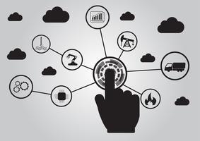 Ikone des Industrie 4.0 Konzeptes, Internet des Sachennetzes, intelligente Fabriklösung, Herstellungstechnologie, Automatisierungsroboter mit grauem Hintergrund vektor