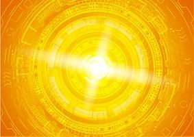 Cybersicherheitskonzept des orange Auges, abstraktes hallo Geschwindigkeits-digitales Internet. Zukunftstechnologie, Vektor Hintergrund.