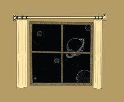 Fönster drömmer den stjärnhimmel vid sänggåendet night.imagining gränslöst utrymme med myriad av stjärnor