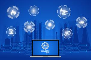 Industrie 4.0-Konzeptbild. Industrielle Instrumente in der Fabrik, Internet der Dinge Netzwerk