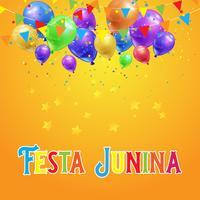 Festa Junina bakgrund med ballonger, konfetti och banderoller vektor