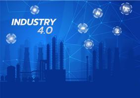 Bransch 4.0 konceptbild. industriella instrument i fabriken, internet av saker nätverk