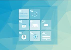 Websitevorlage mit Grundmenü. Linie Kunstikonen. Niedriger blauer Vektorpolyhintergrund. Grafische Benutzeroberflächensymbole. Abbildung des Vektor EPS10.