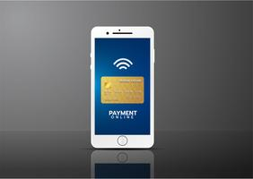 Mobilt betalningskoncept, Smartphone med behandling av mobila betalningar från kreditkort. Vektor illustration