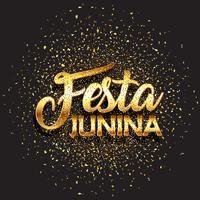 Festa Junina bakgrund med guld glitter konfetti vektor