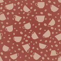 Kaffee trinken nahtlose Hintergrund. Nahtloses Muster der Kaffeebohnen.
