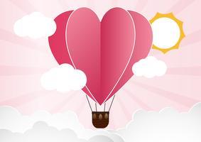 illustration av kärlek och valentin dag, Origami gjorde varmluftsballong som flyger över moln med hjärta flyta på himlen.paper konststil. vektor