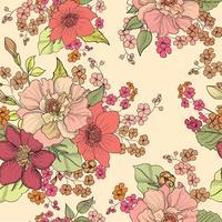 Floral sömlös bakgrund. Blommönster. vektor