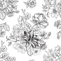 Floral gravierte nahtlose Muster. Blumengarten Hintergrund