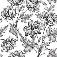 Blommigt sömlöst mönster. Blomma bakgrund. Blommig sömlös text