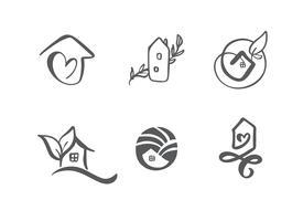 Satz der einfachen Kalligraphie bringt Hand gezeichnetes Logo unter. Echte Vektor-Icons. Nachlassarchitektur Konstruktion für Design. Kunst nach Hause Vintage-Element vektor