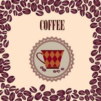 Kaffe varm dryck. Cafe kort bakgrund. Kaffebönor retro mönster. vektor