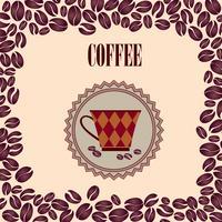 Kaffee heißes Getränk. Cafe Karte Hintergrund. Retro Muster der Kaffeebohnen.