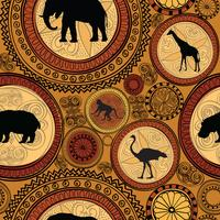 Afrikanisches ethnisches nahtloses Muster. Abstrakter Hintergrund mit Tieren.