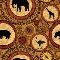 Afrikansk etnisk sömlös mönster. Abstrakt bakgrund med djur. vektor