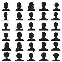 Avatar eingestellt. Menschen Profil Silhouetten