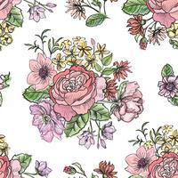Blommigt sömlöst mönster. Blomma bakgrund. Trädgårdsprydnad