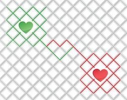 Kärlek hjärta sömlöst mönster Valentinsdag helgdag geometrisk prydnad