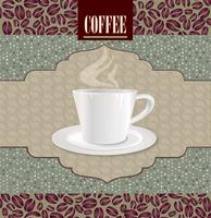 Kaffe varm dryck. Cafe kort bakgrund. Kaffebönor retro mönster.