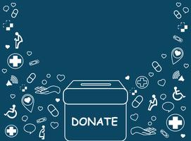 spenden Sie, Nächstenliebe für medizinischen und Gesundheitshintergrundvektor