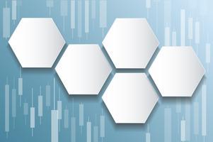 Börsenhintergrundvektor des Hexagons und des Kerzenständers