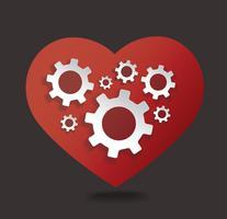 Gears i hjärtformat vektor illustration