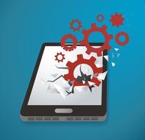 Gears-ikonen Bryt igenom smartphone-skärmvektorn