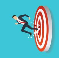 Geschäftsmann, der Zielbogenschießen zum erfolgreichen Vektor bricht. Geschäftskonzept Illustration