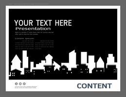 Präsentationsdesignschablone, Stadtgebäude und Immobilienkonzept.