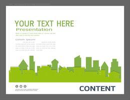 Presentationsdesignmall, stadsbyggnader och fastighets koncept.